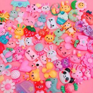 20x Different Mixed Kawaii Resin Cabochons Cute Decoden Craft Flatbacks Pastel