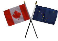 "Canada Canadian & State Alaska Flags 4""x6"" Desk Set Table Gold Base"