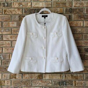 Talbots Women's Size 12 Cotton Linen Blend Button Front Blazer White NEW