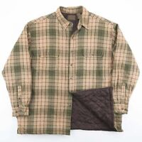 Vintage Beige & Green Check Flannel Quilted Lumberjack Shirt Jacket Size Mens XL
