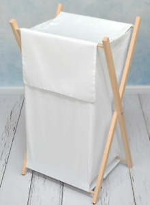 LAUNDRY BASKET WITH NATURAL WOODEN FRAME STORAGE REMOVABLE LINEN White