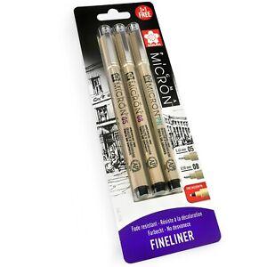 3 x Sakura Pigma Micron - Pigment Fineliner Pens - 0.5/0.8mm/PN - Black Ink