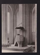 Copenhagen Denmark RPPC interior Grundtvig's Church Pulpit Praedikestol postcard