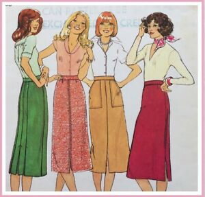 Vintage 70's FRONT SLIT, BACK PLEAT SKIRT Sewing Pattern SIZE 12 (ST1434)