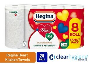 Regina Heart 3 Ply Kitchen Roll - 24 Rolls of Strong Absorbent Kitchen Towel