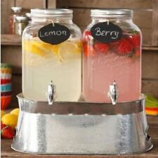 2 x 1 Gallon Mason Jar Glass Beverage Dispenser Drink Server Gift Wedding Party