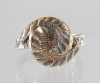 .925 Sterling Silver Vintage Etched Swirl Ring Size 7.75