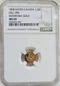 1898 Canada $1/2 Manitoba Gold Bison Maple Leaf NGC MS 64