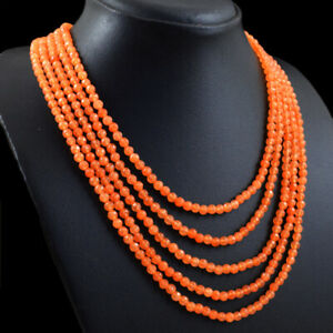 320.00 Cts Earth Mined 5 Strand Carnelian Round Cut Beads Necklace NK 56E113