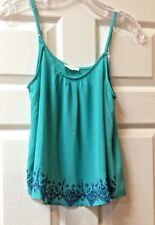 MINE Green/Turquoise w/ Navy Stitching Top Blouse Womens Size Small Sleeveless