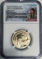 2019 P NGC SP70 FIRST RELEASES COIN & CURRENCY SET ENHANCED SACAGAWEA NATIVE $1