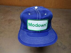 Vintage Blue Modown spray snapback hat trucker farm patch cap