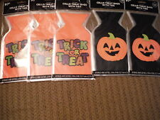 NEW Lot 100 Count Cello Treat Bags with Ties HALLOWEEN PUMPKINS & TRICK OR TREAT