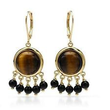 925 STERLING SILVER 14K GOLD PLATED TIGERS EYE & ONYX CHANDELIER EARRINGS