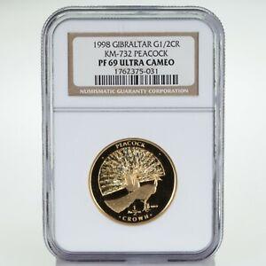 1998 Gibraltar 1/2 Oz. .9999 Gold 1/2 Crown Peacock NGC PF69 Ultra Cameo KM-732