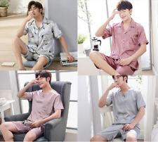 New Men Silk Satin Pajamas Set Short Sleeve Sleepwear Nightwear Loungewear L-3XL