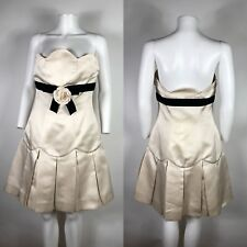 Rare Vtg Chanel Strapless Bow Silk Dress S 38