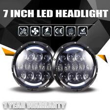 """2pc 7""""Round LED Sealed Beam Headlight Built-In H4 DRL For Jeep Wrangler JK LJ TJ"""