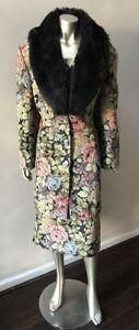 Tapestry 2 Piece Floral Faux Fox Fur Collar Midi Formal Skirt Suit plus size 20W