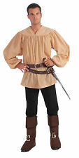 Beige Medieval Shirt Peasant Fancy Dress One Size Adult
