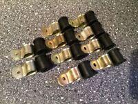 Land Rover Series Rear Brake Pipe P Clip & Rubbers x10 56666 & 6860l