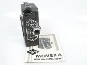 Agfa Movex 8 Filmkamera + Agfa KINE-ANASTIGMAT 1:2,8 f=1,2cm + Anltg. insruction