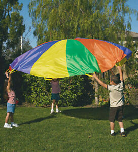 10 Ft Kids Play Parachute Nylon Outdoor Game Toy w/Handles & Carry Case Child