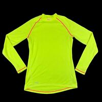 Saucony Womens High Vis Long Sleeve Yellow Polyester Wool Running Shirt Large L