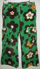 Mini Boden Girl's Green Groovy Flowers Corduroy Cargo Pants Adjustable Zip Waist