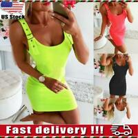 Womens Ladies Summer Sleeveless Bodycon Mini Dress Tank Top Vest Party Clubwear