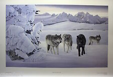 Glenn OLSON Mint LTD art print Certificate COA WOLF PACK & LYNX Rocky MOUNTAINS