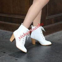 Block Heel Shoes Boots Lace Up Casual Warm Shoes Fur Leather Pull On Solid Shoes