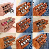 12Pairs/Set Women Vintage Turquoise Earrings Jewelry Ear Stud Boho Jewellery