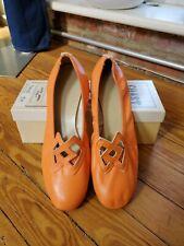 Vintage Nos Coast Square Dance Shoes Do-Si-Do Orange Leather Size 6.5 7 8.5