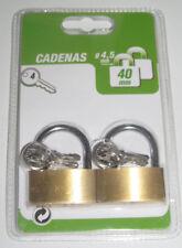 LOT 2 CADENAS LAITON 40MM SIMPLE VEROUILLAGE ANSE ACIER NEUF