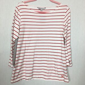 """CREW CLOTHING Size 14 White Red Stripe Top 100% Cotton 3/4 Sleeve Pit To Pit 20"""""""