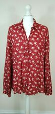 EAST Button Front Blouse 16 Turkey Red Ditsy Floral Dot Breezy Crinkle Summer