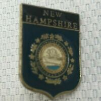 Vintage New Hampshire State Flag Lapel Travel Pin Gold Tone Enamel Collectible