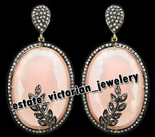 2.15cts Pave Rose Cut Diamond Rose Quartz Studded Silver Vintage Earring Jewelry