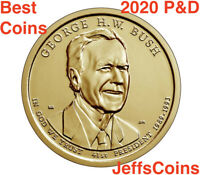 2020 P&D George H.W. Bush Presidential Golden Dollars PD 2 Coins Price 20PD Best