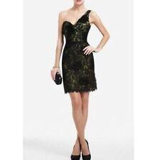 NWT BCBG MAXAZRIA Jennifer One-Shoulder Floral Lace Dress Black size 6