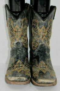 Corral Girls Child Sz 13.5 Black Cross Embroidered Leather Western Cowboy Boots