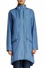 Elie Tahari Womens Zip Front Long Sleeve Molly Coat Alpine Sky Blue L Large 4797