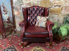 Vintage Chesterfield Leather Wingback Chair-Burgundy-Armchair