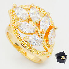 Wedding Clear Marquise Cubic Zircon Gold Plated Lady Leaf Jewelry Ring Size 9