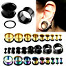 Pair Surgical Steel Ear Plug O-Ring Taper Flesh Tunnel Gauge Stretcher Expander