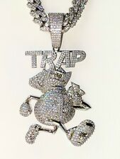 TRAP Men's Icy Out Miami Cuban Chain 14k White Gold Finish Big Iced Pendant