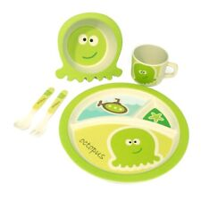 Green Tones Octopus Kids Set/Dinner Set/Dinnerware/Eco-friendly/Bamboo/Recycled