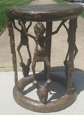 Vintage African Bronze Stool table Cameroon Bamum Tribal sculptural statue