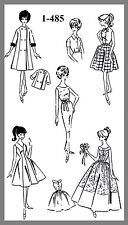 Vintage Mail Order Teen Doll Clothes Wardrobe Fabric Material sew pattern #1-485
